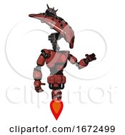Android Containing Flat Elongated Skull Head And Spider Crown And Light Chest Exoshielding And Red Chest Button And Jet Propulsion Light Brick Red Interacting