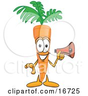 Clipart Picture Of An Orange Carrot Mascot Cartoon Character Preparing To Make An Announcement With A Megaphone Bullhorn