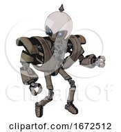 Droid Containing Grey Alien Style Head And Electric Eyes And Helmet And Heavy Upper Chest And Heavy Mech Chest And Ultralight Foot Exosuit Patent Khaki Metal Fight Or Defense Pose