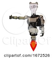 Mech Containing Humanoid Face Mask And Slashes War Paint And Light Chest Exoshielding And Ultralight Chest Exosuit And Rocket Pack And Jet Propulsion Grungy Fiberglass