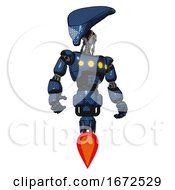 Robot Containing Flat Elongated Skull Head And Light Chest Exoshielding And Yellow Chest Lights And Jet Propulsion Dark Blue Halftone Hero Pose