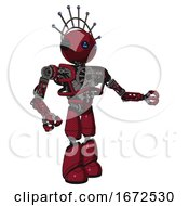 Robot Containing Oval Wide Head And Blue Led Eyes And Techno Halo Ornament And Heavy Upper Chest And No Chest Plating And Light Leg Exoshielding Fire Engine Red Halftone Interacting