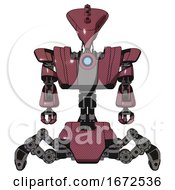 Android Containing Flat Elongated Skull Head And Heavy Upper Chest And Heavy Mech Chest And Blue Energy Fission Element Chest And Insect Walker Legs Muavewood Halftone Front View
