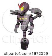 Automaton Containing Grey Alien Style Head And Yellow Eyes And Light Chest Exoshielding And Yellow Chest Lights And Minigun Back Assembly And Unicycle Wheel Lilac Metal