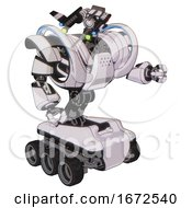 Android Containing Dual Retro Camera Head And Communications Array Head And Heavy Upper Chest And Heavy Mech Chest And Battle Mech Chest And Six Wheeler Base White Halftone Toon