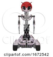 Droid Containing Grey Alien Style Head And Black Eyes And Red V And Red Helmet And Light Chest Exoshielding And No Chest Plating And Six Wheeler Base Sketch Pad Doodle Lines Front View