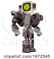 Robot Containing Old Computer Monitor And Yellow Sad Pixel Face And Old Retro Speakers And Heavy Upper Chest And Heavy Mech Chest And Shoulder Spikes And Prototype Exoplate Legs Dusty Rose Red Metal