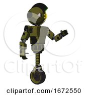 Droid Containing Oval Wide Head And Sunshine Patch Eye And Techno Mohawk And Light Chest Exoshielding And Prototype Exoplate Chest And Unicycle Wheel Army Green Halftone Interacting