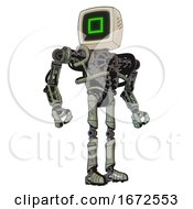 Mech Containing Old Computer Monitor And Pixel Square Design And Heavy Upper Chest And No Chest Plating And Ultralight Foot Exosuit Green Metal Hero Pose