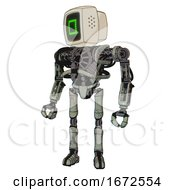 Mech Containing Old Computer Monitor And Pixel Square Design And Heavy Upper Chest And No Chest Plating And Ultralight Foot Exosuit Green Metal Standing Looking Right Restful Pose