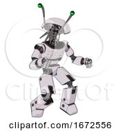 Droid Containing Dual Retro Camera Head And Shrimp Head And Light Chest Exoshielding And Chest Green Blue Lights Array And Prototype Exoplate Legs White Halftone Toon Fight Or Defense Pose