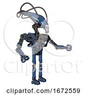 Android Containing Flat Elongated Skull Head And Cables And Heavy Upper Chest And No Chest Plating And Ultralight Foot Exosuit Blue Halftone Interacting