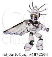 Android Containing Grey Alien Style Head And Electric Eyes And Eyeball Creature Crown And Light Chest Exoshielding And Rubber Chain Sash And Cherub Wings Design And Light Leg Exoshielding