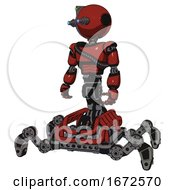 Mech Containing Oval Wide Head And Telescopic Steampunk Eyes And Green Led Ornament And Light Chest Exoshielding And Rubber Chain Sash And Insect Walker Legs Cherry Tomato Red
