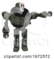 Bot Containing Humanoid Face Mask And Skeleton War Paint And Heavy Upper Chest And Chest Energy Sockets And Prototype Exoplate Legs Old Corroded Copper Pointing Left Or Pushing A Button