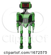 Robot Containing Dual Retro Camera Head And Clock Radio Head And Light Chest Exoshielding And Ultralight Chest Exosuit And Rocket Pack And Ultralight Foot Exosuit Secondary Green Halftone