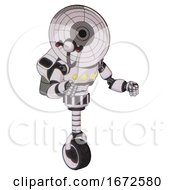 Robot Containing Dual Retro Camera Head And Satellite Dish Head And Light Chest Exoshielding And Yellow Chest Lights And Rocket Pack And Unicycle Wheel White Halftone Toon Fight Or Defense Pose
