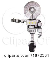 Robot Containing Dual Retro Camera Head And Satellite Dish Head And Light Chest Exoshielding And Yellow Chest Lights And Rocket Pack And Unicycle Wheel White Halftone Toon