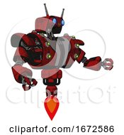 Android Containing Dual Retro Camera Head And Cyborg Antenna Head And Heavy Upper Chest And Heavy Mech Chest And Green Cable Sockets Array And Jet Propulsion Red Blood Grunge Material Interacting