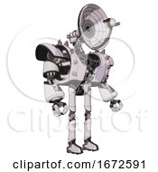 Bot Containing Dual Retro Camera Head And Satellite Dish Head And Heavy Upper Chest And Heavy Mech Chest And Shoulder Spikes And Ultralight Foot Exosuit White Halftone Toon Facing Left View