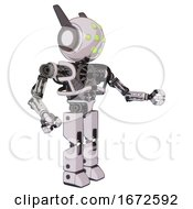 Bot Containing Round Head And Green Eyes Array And Head Winglets And Heavy Upper Chest And No Chest Plating And Prototype Exoplate Legs White Halftone Toon Interacting