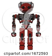Bot Containing Oval Wide Head And Beady Black Eyes And Barbed Wire Visor Helmet And Heavy Upper Chest And No Chest Plating And Prototype Exoplate Legs Cherry Tomato Red Front View