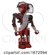 Bot Containing Oval Wide Head And Beady Black Eyes And Barbed Wire Visor Helmet And Heavy Upper Chest And No Chest Plating And Prototype Exoplate Legs Cherry Tomato Red Facing Left View