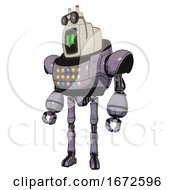 Android Containing Old Computer Monitor And Pixel Line Eyes And Old Computer Magnetic Tape And Heavy Upper Chest And Colored Lights Array And Ultralight Foot Exosuit Matted Pink Metal