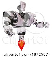 Mech Containing Humanoid Face Mask And Spiral Design And Heavy Upper Chest And Heavy Mech Chest And Jet Propulsion White Halftone Toon Interacting