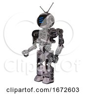 Automaton Containing Digital Display Head And Three Horizontal Line Design And Retro Antennas And Heavy Upper Chest And No Chest Plating And Prototype Exoplate Legs Scribble Sketch