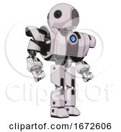 Bot Containing Round Head And Large Cyclops Eye And Heavy Upper Chest And Heavy Mech Chest And Blue Energy Fission Element Chest And Prototype Exoplate Legs White Halftone Toon Hero Pose