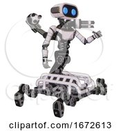 Bot Containing Dual Retro Camera Head And Cute Retro Robo Head And Yellow Head Leds And Light Chest Exoshielding And Ultralight Chest Exosuit And Minigun Back Assembly And Insect Walker Legs