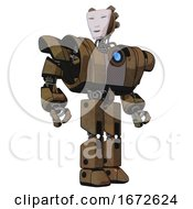 Android Containing Humanoid Face Mask And Heavy Upper Chest And Heavy Mech Chest And Blue Energy Fission Element Chest And Prototype Exoplate Legs Old Copper Hero Pose