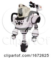 Droid Containing Old Computer Monitor And Retro Futuristic Webcam And Heavy Upper Chest And Chest Compound Eyes And Unicycle Wheel White Halftone Toon Standing Looking Right Restful Pose