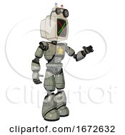 Bot Containing Old Computer Monitor And Colored X Display And Old Computer Magnetic Tape And Light Chest Exoshielding And Yellow Star And Light Leg Exoshielding Green Metal Interacting