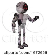 Android Containing Three Led Eyes Round Head And Light Chest Exoshielding And Prototype Exoplate Chest And Ultralight Foot Exosuit Dark Ink Dots Sketch Interacting