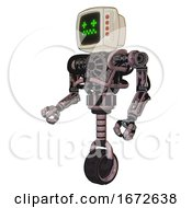 Droid Containing Old Computer Monitor And Stunned Pixels Face And Red Buttons And Heavy Upper Chest And No Chest Plating And Unicycle Wheel Grayish Pink Facing Right View
