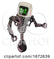 Droid Containing Old Computer Monitor And Stunned Pixels Face And Red Buttons And Heavy Upper Chest And No Chest Plating And Unicycle Wheel Grayish Pink Fight Or Defense Pose