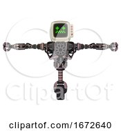 Droid Containing Old Computer Monitor And Stunned Pixels Face And Red Buttons And Heavy Upper Chest And No Chest Plating And Unicycle Wheel Grayish Pink T Pose