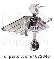 Mech Containing Grey Alien Style Head And Electric Eyes And Bug Antennas And Light Chest Exoshielding And Pilots Wings Assembly And No Chest Plating And Unicycle Wheel White Halftone Toon