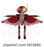 Mech Containing Oval Wide Head And Sunshine Patch Eye And Retro Antenna With Light And Light Chest Exoshielding And Ultralight Chest Exosuit And Cherub Wings Design And Ultralight Foot Exosuit