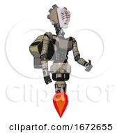 Mech Containing Humanoid Face Mask And Slashes War Paint And Light Chest Exoshielding And Ultralight Chest Exosuit And Rocket Pack And Jet Propulsion Grungy Fiberglass Facing Left View