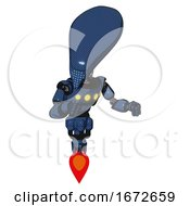 Robot Containing Flat Elongated Skull Head And Light Chest Exoshielding And Yellow Chest Lights And Jet Propulsion Dark Blue Halftone Fight Or Defense Pose