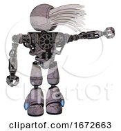 Robot Containing Round Fiber Optic Connectors Head And Heavy Upper Chest And No Chest Plating And Light Leg Exoshielding Dark Dirty Scrawl Sketch Pointing Left Or Pushing A Button