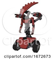 Poster, Art Print Of Mech Containing Flat Elongated Skull Head And Light Chest Exoshielding And Ultralight Chest Exosuit And Minigun Back Assembly And Tank Tracks Light Brick Red Standing Looking Right Restful Pose