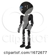 Bot Containing Round Head And Vertical Cyclops Visor And Head Light Gadgets And Light Chest Exoshielding And Ultralight Chest Exosuit And Ultralight Foot Exosuit Clean Black Facing Right View