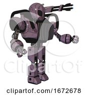 Cyborg Containing Grey Alien Style Head And Black Eyes And Bug Antennas And Heavy Upper Chest And Chest Vents And Prototype Exoplate Legs Lilac Metal Interacting