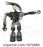 Robot Containing Bird Skull Head And Brass Steampunk Eyes And Head Shield Design And Heavy Upper Chest And No Chest Plating And Light Leg Exoshielding Old Corroded Copper
