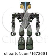 Robot Containing Bird Skull Head And Brass Steampunk Eyes And Head Shield Design And Heavy Upper Chest And No Chest Plating And Light Leg Exoshielding Old Corroded Copper Front View