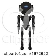 Bot Containing Round Head And Vertical Cyclops Visor And Head Light Gadgets And Light Chest Exoshielding And Ultralight Chest Exosuit And Ultralight Foot Exosuit Clean Black Front View